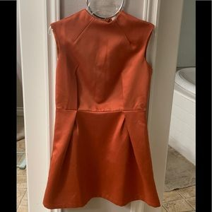 ASOS Sexy classy pleated high neck mini rust Dress